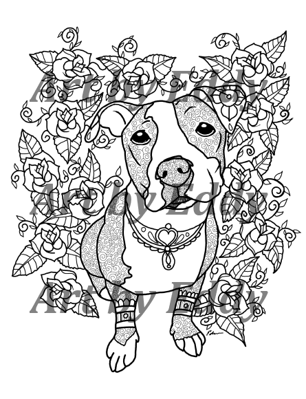 pitbull coloring pages - photo#21