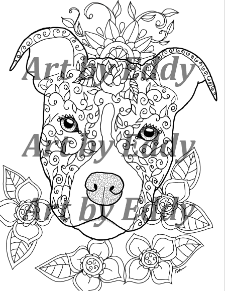 Pit Bull PIBBLE Coloring Book for