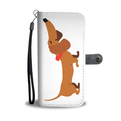 Cell Phone Wallet Cases Dachshund Brown Short and Sweet