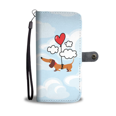 Cell Phone Wallet Cases Dachshund Heart Balloon Up Up and Away