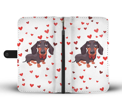 Cell Phone Wallet Cases Dachshund Black and Tan Red Bow tie