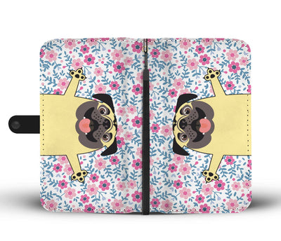 Cell Phone Wallet Cases PUG Happy Floral