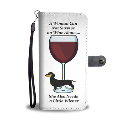 Cell Phone Wallet Cases Black and Tan Dachshund and Wine