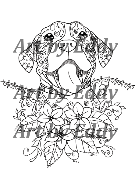 Pit Bull PIBBLE Coloring Book for All Ages