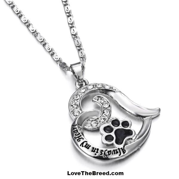 Always in My Heart Paw Heart Necklace