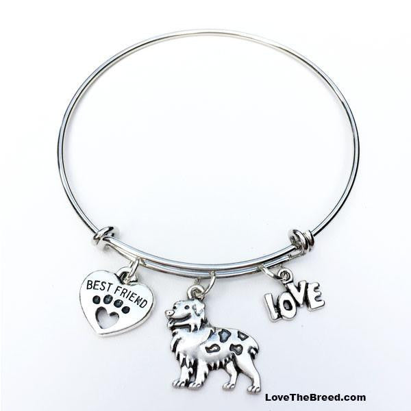 Australian Shepherd Best Friend Love Charm Bracelet