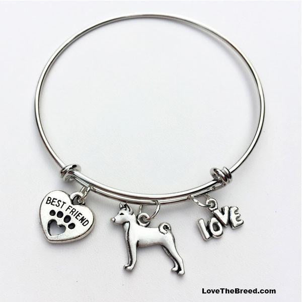 Basenji Best Friend Love Charm Bracelet