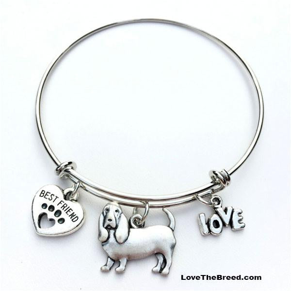 Basset Hound Best Friend Love Charm Bracelet
