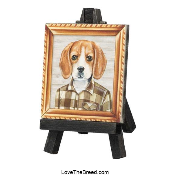 Beagle Mini Portrait on and Easel