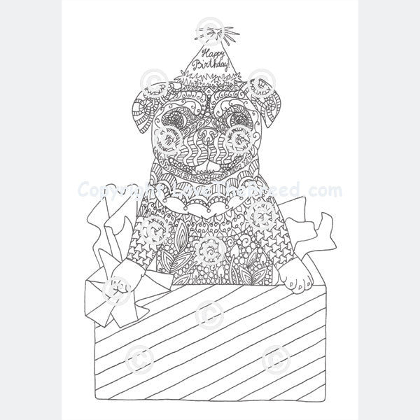 Pug Coloring Book for Adults and Children  Volume 1