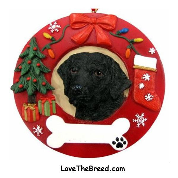 Black Labrador Wreath Ornament - You Can Personalize