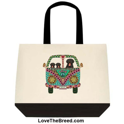 Black Labrador Love Bus Extra Large Tote