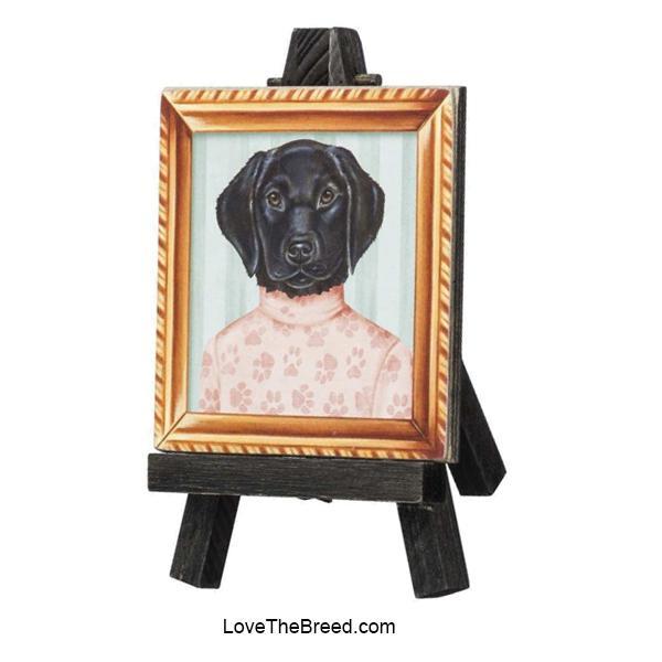 Black Labrador Mini Portrait on and Easel
