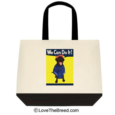 Black Labrador Rosie the Riveter We Can Do It Extra Large Tote