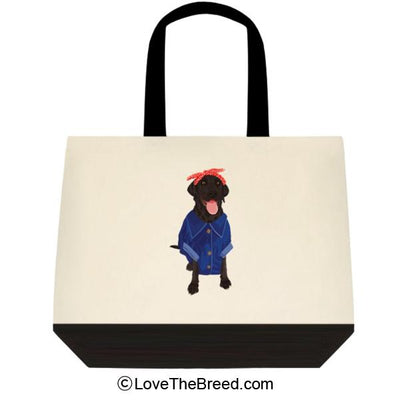 Black Labrador Rosie the Riveter DOG Extra Large Tote