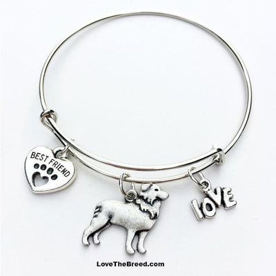 Border Collie Best Friend Love Charm Bracelet