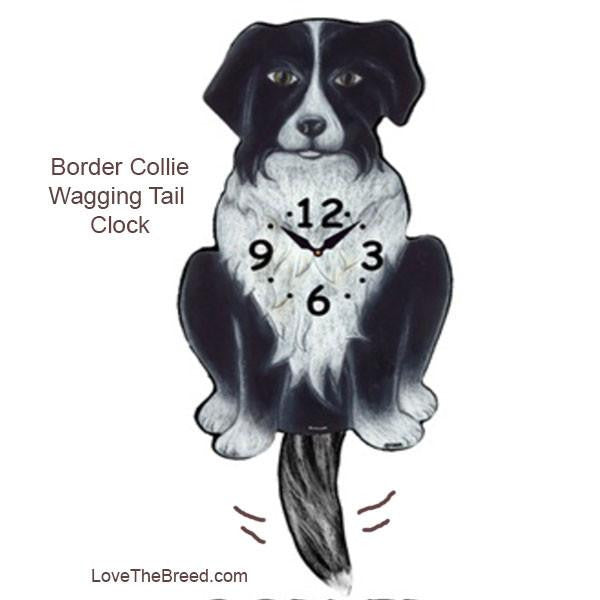 Border Collie Wagging Tail Clock