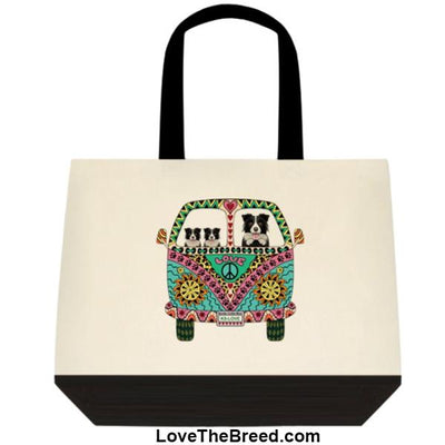 Border Collie Love Bus Extra Large Tote