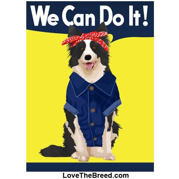 Border Collie Rosie the Riveter We Can Do It Extra Large Tote