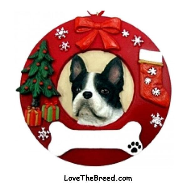 Boston Terrier Wreath Ornament - You Can Personalize