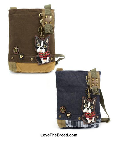 Boston Terrier Patch Crossbody Bag Adjustable Strap Chala