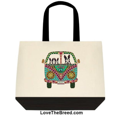 Boston Terrier Love Bus Extra Large Tote