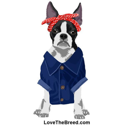Boston Terrier Rosie the Riveter DOG Extra Large Tote