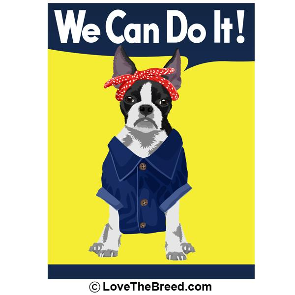 Boston Terrier Rosie the Riveter We Can Do It Extra Large Tote