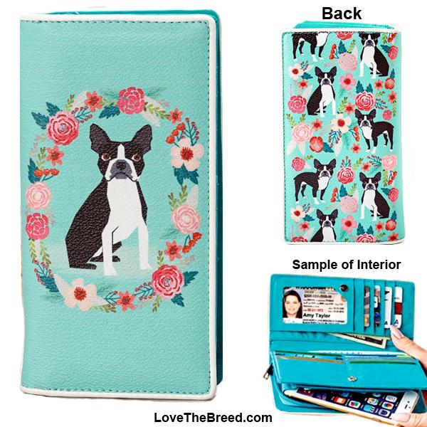 Boston Terrier Floral Wallet