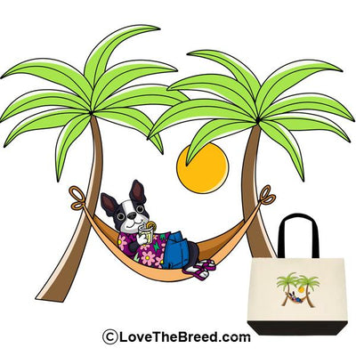 Boston Terrier in Hammock Extra Large Tote