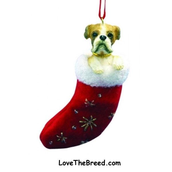 Boxer Holiday Ornament in Stocking