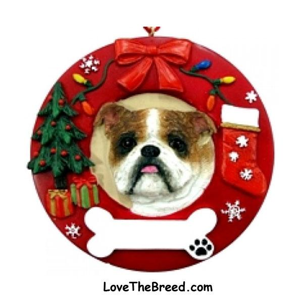 Bulldog Wreath Ornament - You Can Personalize