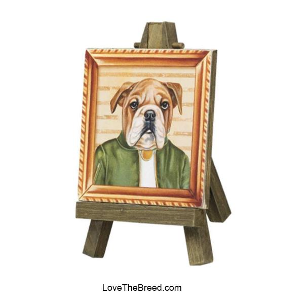 Bulldog Mini Portrait on and Easel