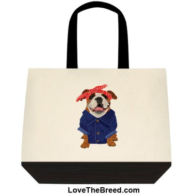 Bulldog Rosie the Riveter DOG Extra Large Tote
