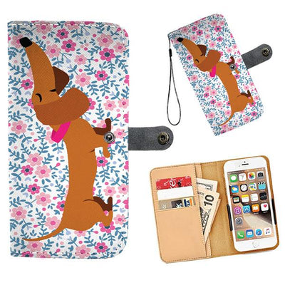 Cell Phone Wallet Cases Dachshund Brown Short and Sweet Pink Floral