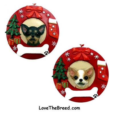 Chihuahua Wreath Ornament - You Can Personalize