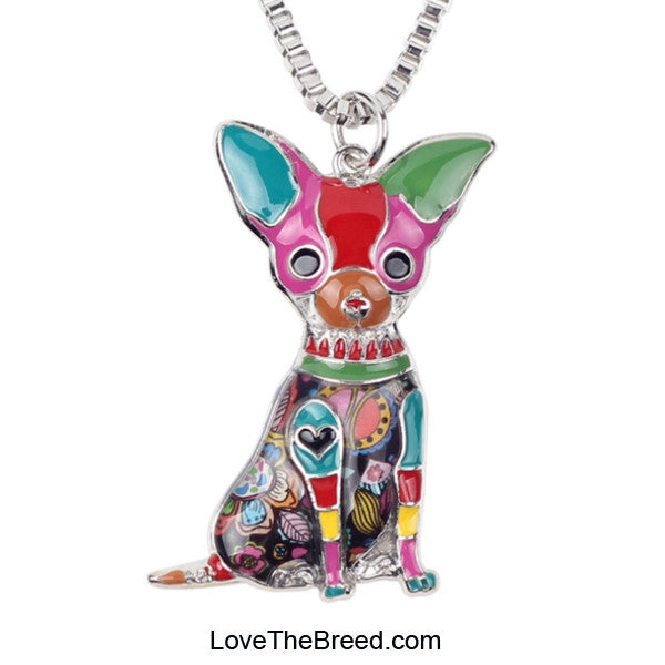 Chihuahua Colorful Enamel Necklace