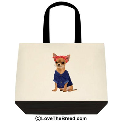 Chihuahua Rosie the Riveter DOG Extra Large Tote