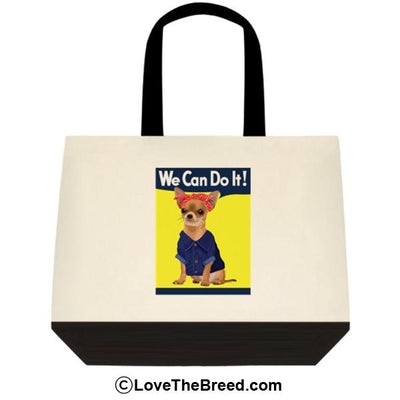 Chihuahua Rosie the Riveter We Can Do It Extra Large Tote