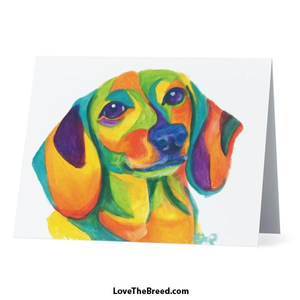 Colorful Dachshund Card - with Envelope + FREE SHIPPING