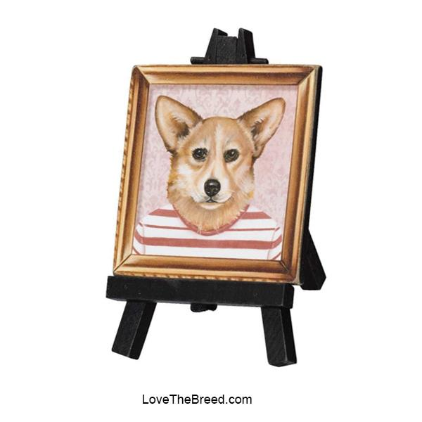 Corgi Mini Portrait on and Easel