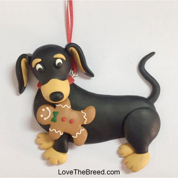Dachshund with Gingerbread Man Ornament Handmade BLACK and TAN