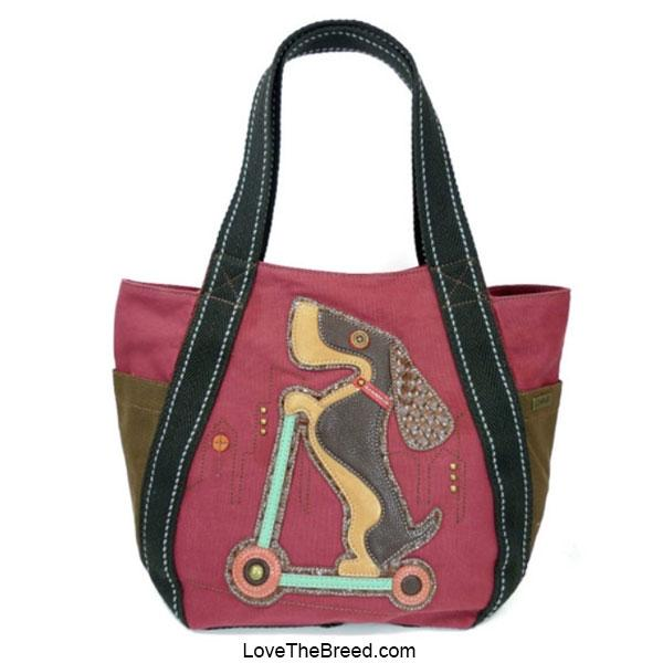 Dachshund on Scooter Chala Carryall Tote