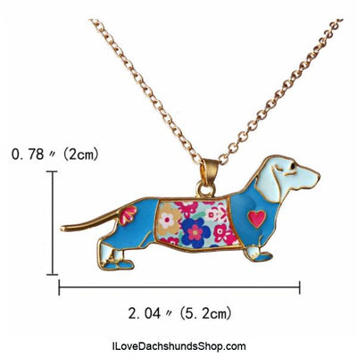 Dachshund Enamel Necklace Blue and Gold