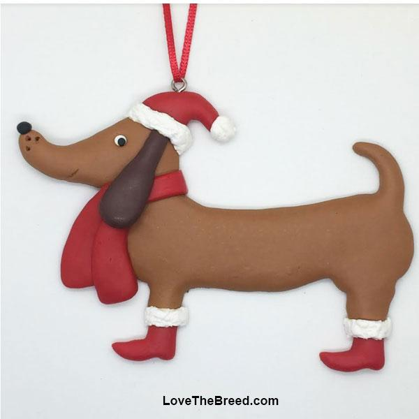 Dachshund Santa Ornament Handmade Collectible