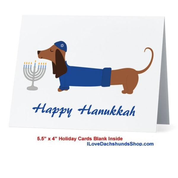 Dachshund Happy Hanukkah Card