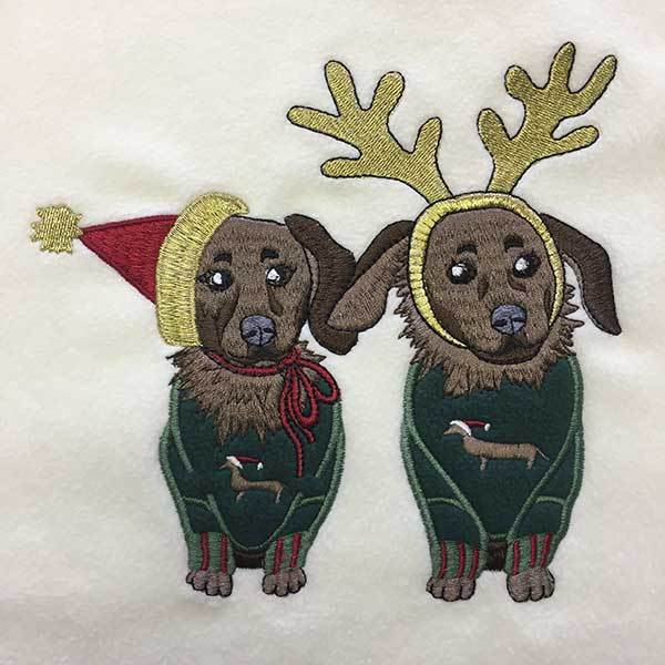 Dachshund Holiday Embroidered Fleece Top