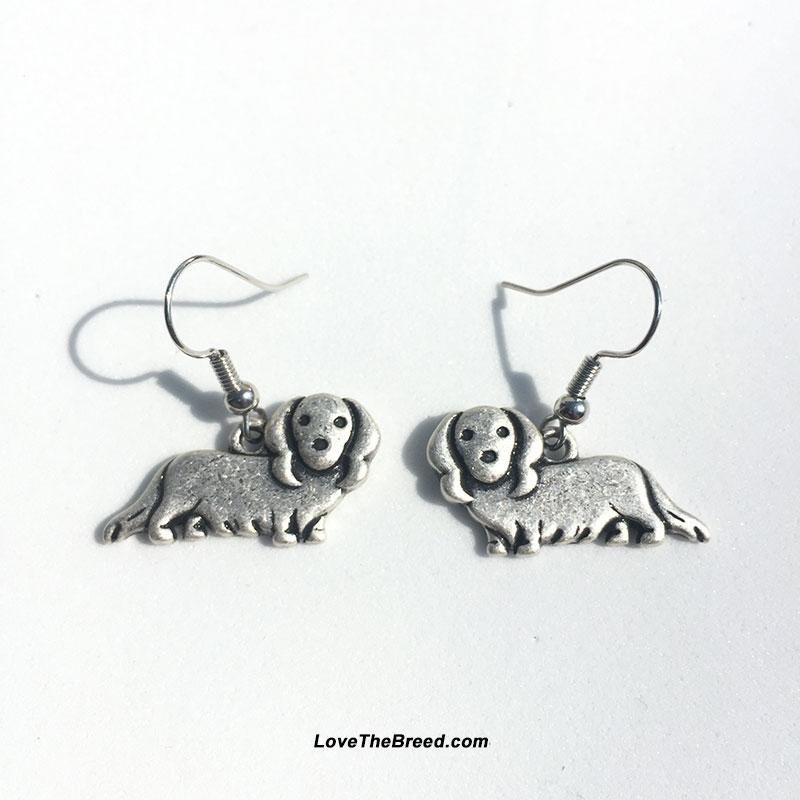 Dachshund Long Hair Charm Earrings