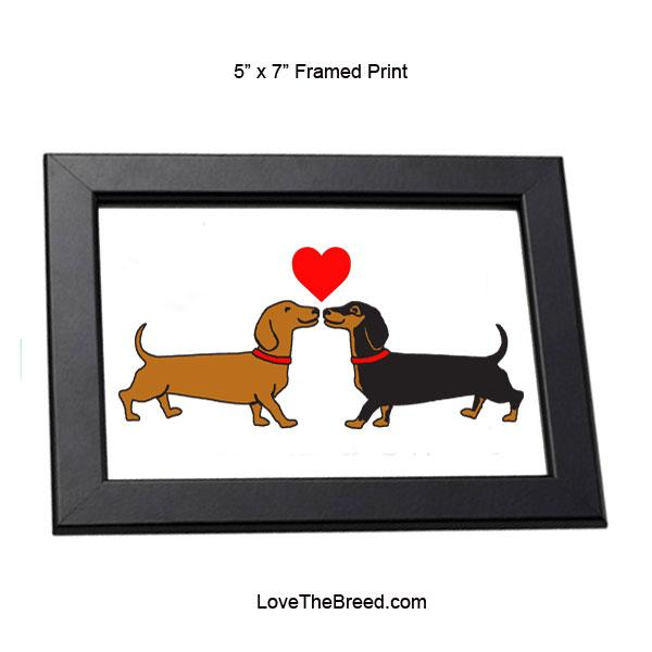 Dachshund Long on Love Framed Print 5 x 7