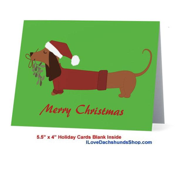 Dachshund Merry Christmas Mistletoe Card